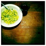 The upside: home made pasta and pesto